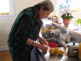 Ann making marmalade, in our kitchen, from home grown grapefruit - for Quaker funds.