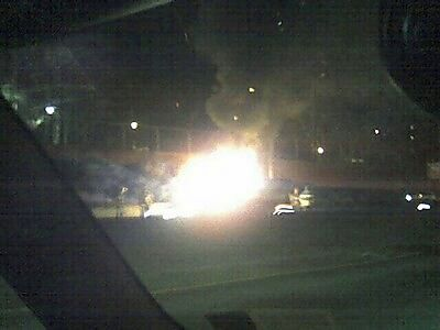 Car on fire on the Cross Bronx Expressway.
