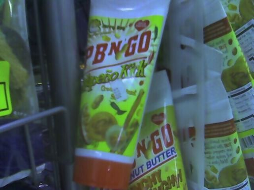 Jalapeno peanut butter in a squeeze tube.  So gross, for so many reasons.