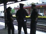 Police presence on the 1 train platform.
