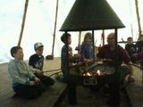Cooking on an open fire in the tipi