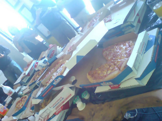 nearly 400 pounds worth of pizza