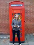 Phone box filled with plastic balls, and the lovely Helen
