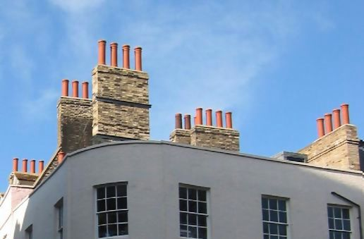 Red chimneys and sky