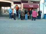 Queueing for ice cream in February!