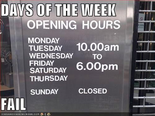 Days Of The Week FAIL