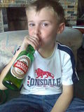 Jordan sipping on a cold one...