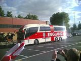 The England team arrives at Old Trafford.
