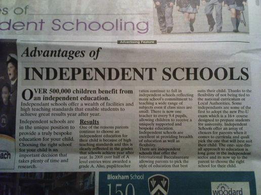 Independent schools advert #fail How many errors can you spot?