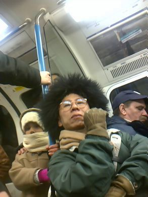 Crazy Japanese Hat Man on Tube