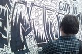 Writing on the graffiti wall at the Japanese festival