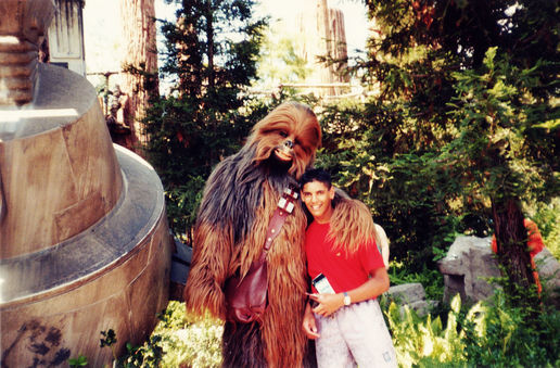 1990, with Chewy, forest moon of Endor: