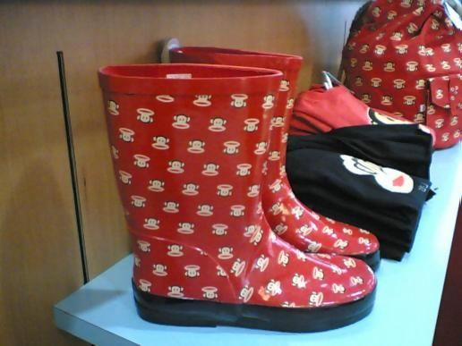 Monkey wellies, Selfridges